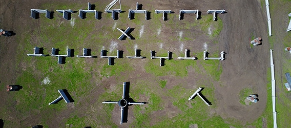 Overhead view of the Von Zipper paintball field